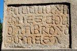 Inscription mentionnant une restauration faite par l'évêque (vescov) d'Omessa (d omesa), Ambroggio (Anbroxo) en 1462 (MCCCCLXII)