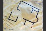 Plan de la villa romaine du milieu du 4e siècle qui sera transformée en église (panneau d'information)