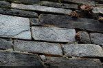 Détail d'un bloc gravé (mur sud extérieur)