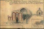 Dessin de Gaubert (entre 1886 et 1889) montrant la façade occidentale et la base du campanile (coggia.com)