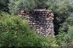 Mur du petit oratoire émergeant de la végétation; fait de galets (Haut Moyen Age ou 11e siècle)