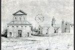 Dessin de Bessières: l'église paroissiale en 1856, construite en remplacement de l'ancienne église Santa Maria Assunta (publié par G. Moracchini-Mazel)