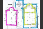 Plan du site : en bleu baptistère et église paléochrétiens (entre le 4e et le 7e siècle), en jaune petite chapelle construite au 9e siècle à l'intérieur de l'église paléochrétienne, en rose la chapelle funéraire paléochrétienne